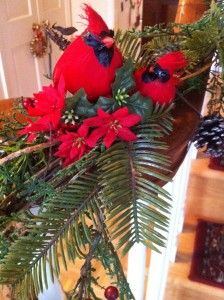 Cardinals decorate my stairway garland (Photo Credit: Adroit Ideals)