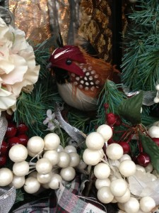 The faux quail in my front door wreath (Photo Credit: Adroit Ideals)
