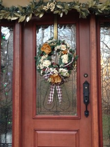 My front door's holiday decor! (Photo Credit: Adroit Ideals)