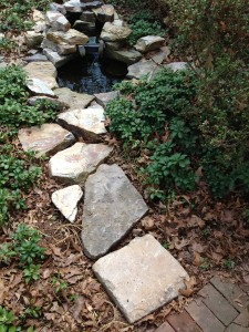 Added a stone walkway to the Front Pond. The pachysandra will fill in around the boulders. (Photo Credit: Adroit Ideals)