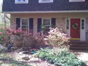 My red door didn't go well with the hot pink azalea blooms (Photo Credit: Adroit Ideals)