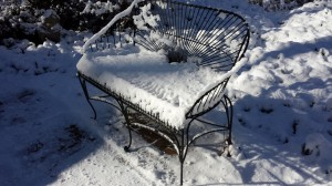 Even a nice wrought iron Monet bench can add winter interest in the garden (Photo Credit: Adroit Ideals)