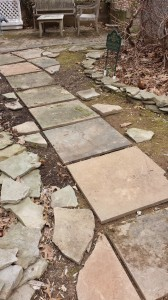 This new slate path, when completed, will offer an alternative to a muddy area