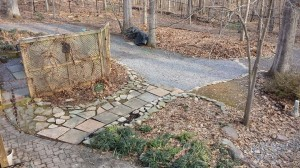 The Slate Walkway and the extension of the Gravel Path.  The slate will be set in a bluestone dust base.
