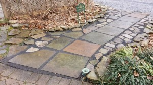 My completed slate walk.  I've kept two bags of bluestone dust aside in case I need to level again once the walk settles.